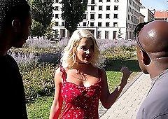 Mature blonde MILF Sienna Day gets two big black cocks and their cum