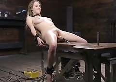 Hairy Cunt Babe In Device Fucks Machine