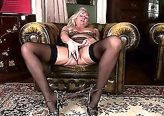 Horn-mad grey haired cougar Ellen B is always ready for some masturbation
