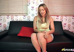 Curvy milf Beth shows her panties upskirt and teases with shaved pussy