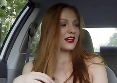 Redhead chick with red lips tricked into my car
