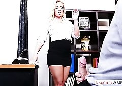 Alluring curvaceous blonde secretary Bailey Brooke is fucked on the table
