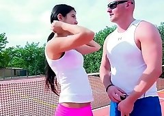 Tennis court fuck with stunning brunette chick Lady D