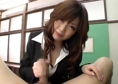 Exotic Japanese slut Rio Hamasaki in Crazy Cougar, Handjobs JAV clip