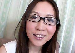 Nerdy babe Ayumi Chiba gets her hairy cunt banged by a friend