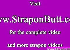 Strapon femdom sluts slap dude and peg