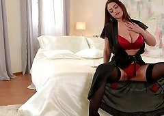 Sandra Milka sucks a long cock like her life depends on it