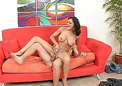 Busty Persia Pele talks a friend into drilling her shaved pussy