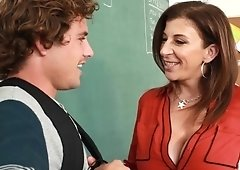 Teacher Sara Jay gets her pussy rammed hard in the classroom
