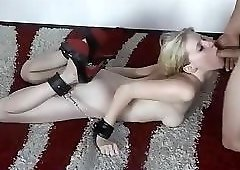 Tied up german blonde fucked and facialized