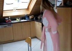Wife eating breakfest naked