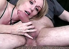 Freckled milf is a hot cock gobbler