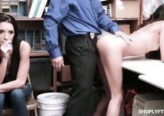 Kinky policeman fucks show-lifting chick Victoria Vargaz in the back room