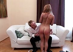 Good looking Valentina Blue talks a friend into spanking her