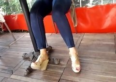 Candid fr s feets  sexy red toes under table