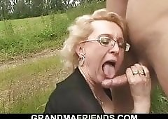 60 yo woman swallows two cocks outdoors for money