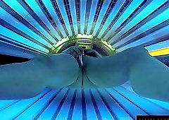 Tanning Bed Solarium Sonnenbank Fun Pierced Pussy and Dildo