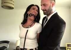 Handcuffed UK MILF edged while cock riding dom