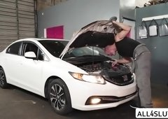 Daisy gets fucked in a Car repair Shop