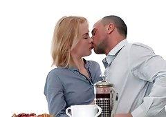 Slim blonde Via Lasciva wants to feel a man's dick during breakfast