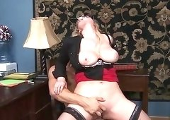 Blonde MILF teacher with glasses gets fucked rough
