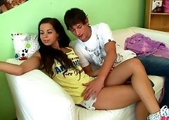Good girl Kiki gives a blowjob in 69 pose and gets her slit banged