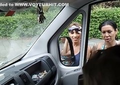 Dude flashing cock in car to women and they want to suck his dick