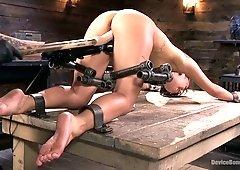 Leggy flexible slut Gina Valentina gets restrained and masturbated hard