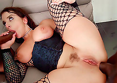 Curvy tattooed babe Ivy Lebelle pounded by black cocks and swallows