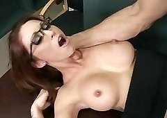 Redhead librarian-type gets fucked by this big-dicked stud