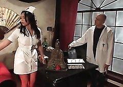 Huge dick sucked by slutty Asian nurse