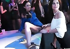 Sexy women at the party into lesbian foreplay
