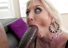 Blonde whore takes big black dick right up the ass