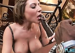 Rather flexible super curvy housewife takes long BBC into her anus