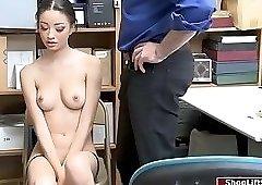 Hot shoplifter sucks officers dick