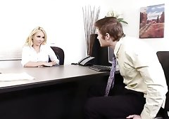 Hot blonde office manager Aaliyah Love fucks a horny guy
