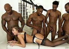 Whore wife Britney Amber is fucked by several black dudes