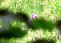Lurking voyeur caught sex in the grass