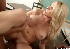 Milf with hot huge boobs taking part in hard core porn movie in office