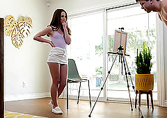 Teen brunette Megan Marx seduces and rides a well hung dude