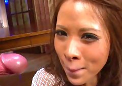 Gorgeous chick Ema Kisaki with sexy ass is eating jizz