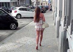 Julie skyhigh belgian slut exhibitionist slut shows her pussy in the street