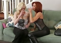 Red haired busty milf gets her pussy licked and finger fucked by horny blonde Kristy Snow