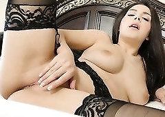 Sexy well shaped babe in black tights Valentina Nappi wanna be poked doggy