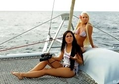 Julie Hunter and her hot friend like to fuck together on the boat