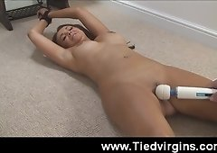 Teen brunette Farrah tied up and gets her tits and pussy toyed with