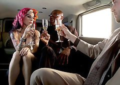In the back of a limo Joanna Angel gets double penetrated