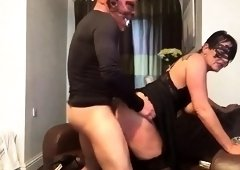 Masked wife in stockings begs to be nailed hard doggystyle