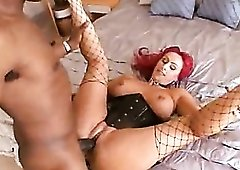 Filthy slut in a leather corset nailed by BBC