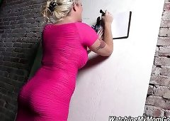 Hot like fire blond mommy in pink sexy dress Alana Evans rests after dirty sex